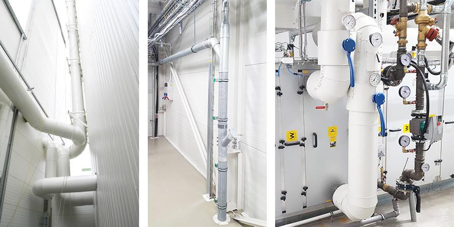 Od lewej: Kolektory instalacji odpylania i kondycjonowania, Instalacja centralnego odkurzania, Widok na centralę kondycjonującą oraz podłączenia wody lodowej iciepła technologicznego