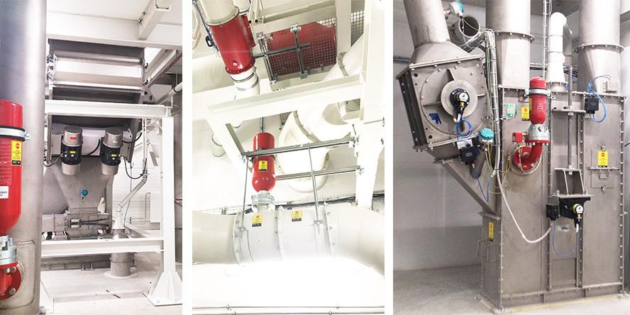 Od lewej: Instalacja przesiewająca do separacji grudek cukru w wersji ATEX (do pracy w strefie 22 zagrożenia wybuchem), Odpylnia – klapy zwrotne na kolektorach zapylonego powietrza. Butla HRD na kolektorze czystego powietrza (za filtrem, na powrocie do wentylacji), Zabezpieczenie podnośników kubełkowych za pomocą systemu HRD – dobór, preinstalacje, montaż, uruchomienie