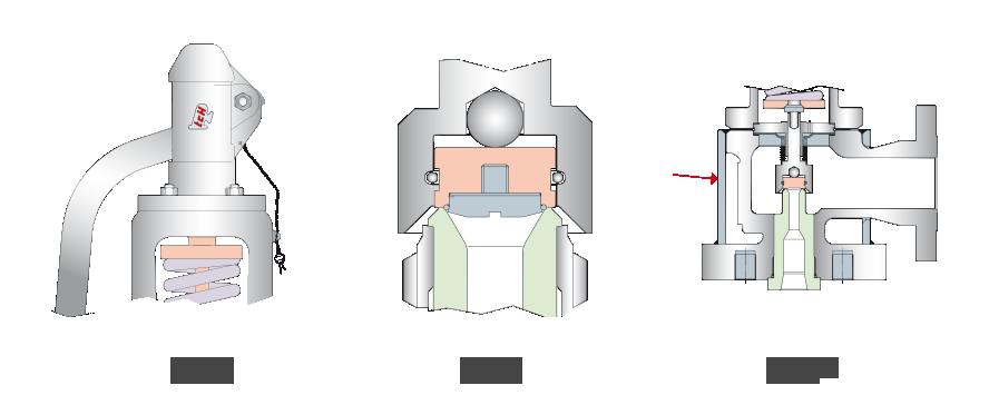 Rys. 8. Kołpak budowy otwartej | Rys. 9. Zawór bezpieczeństwa wyposażony w pierścień O-ring | Rys. 10. Zawór bezpieczeństwa z płaszczem grzewczym